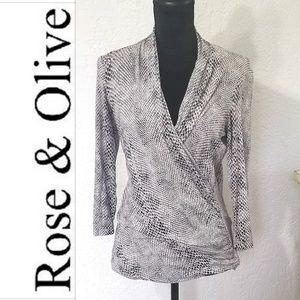 Top black & white ll Rose & Olive
